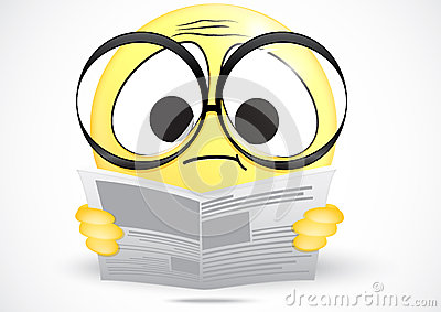 Emoticon confused reading a newspaper