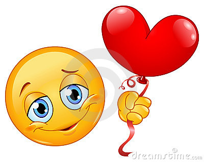 Emoticon with heart balloon