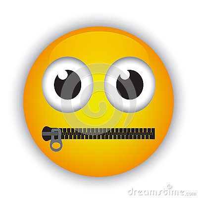 Emoticon With A Mouth Fastened With A Zipper Stock Photo ...