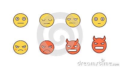 Emoticons-Aufkleber setzen ernstlich wütenden Dämon Animierte Emoticons Alphakanal stock abbildung