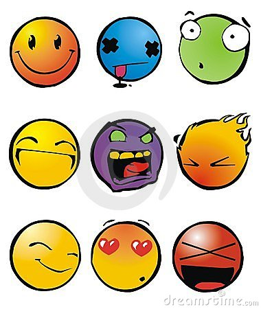funny smileys. Collection of nine funny