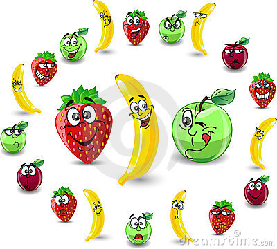 Emotion cartoon strawberries and apples,vector