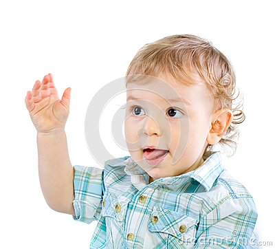 Emotion Happy Cute Baby Boy over white