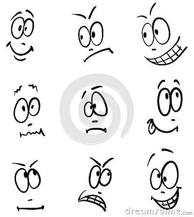 Emotion, set of nine sketch faces
