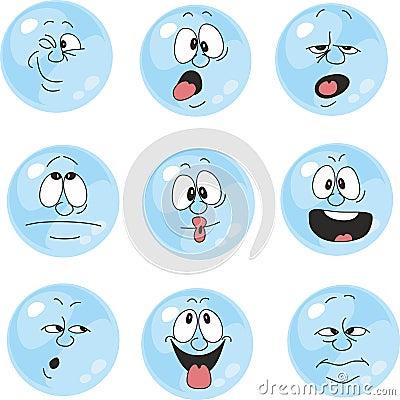 Emotion smiles blue color set 004 Vector Illustration