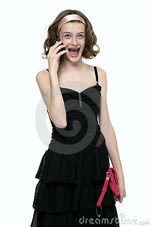 Emotional girl talking with mobile phone