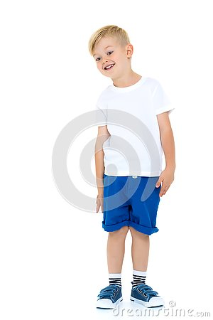 Free Emotional Little Boy In A Pure White T-shirt. Stock Image - 133072631