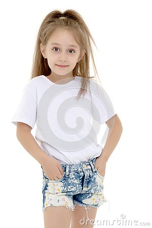 Free Emotional Little Girl In A Clean White T-shirt. Royalty Free Stock Images - 133072179