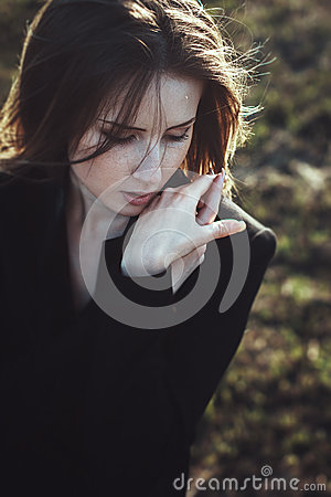 Emotional portrait beautiful expressive woman wind hair Stock Photo