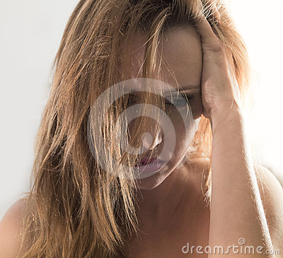 Emotional portrait of the  depression woman