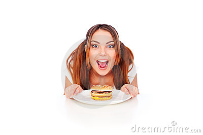 Emotional woman with burger
