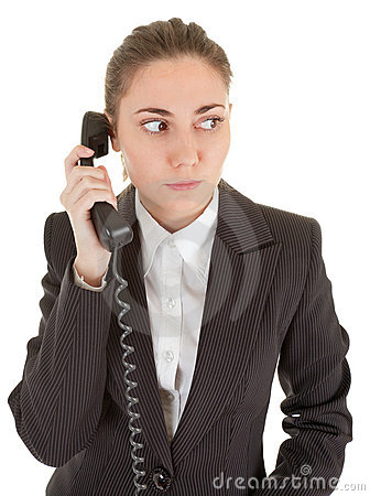 Emotional woman with a telephone