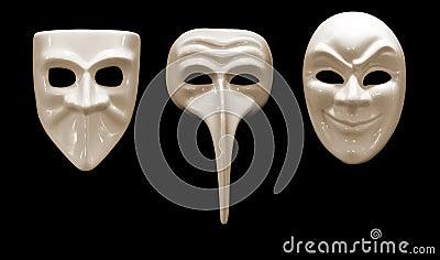 Emotioneel die masker drie van porselein wordt gemaakt