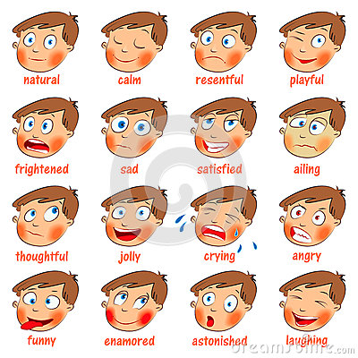 Free Emotions. Cartoon Facial Expressions Royalty Free Stock Photo - 28095575