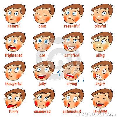 Emotions. Cartoon facial expressions