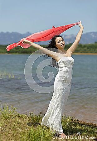 An emotive girl in field
