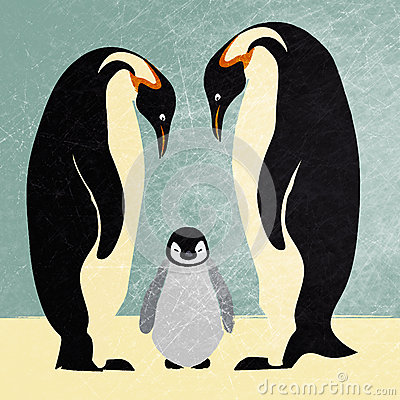 Free Emperor Penguin Family Royalty Free Stock Photo - 26571585
