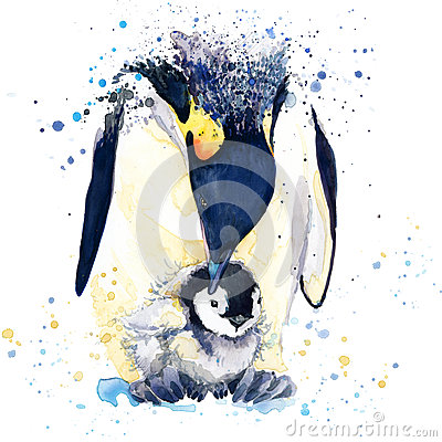 Free Emperor Penguin T-shirt Graphics. Emperor Penguin Illustration With Splash Watercolor Textured Background. Unusual Illustration Wa Stock Image - 56396591