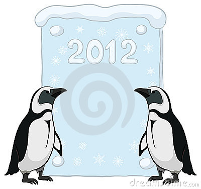 Emperor penguins with poster 2012