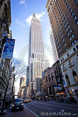Empire State Building and 34th street Editorial Image