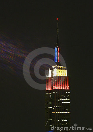 Empire State Building Lights up for Olympics Editorial Stock Photo