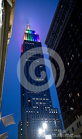 Empire State Building Sporting Gay Pride Colors Editorial Photo