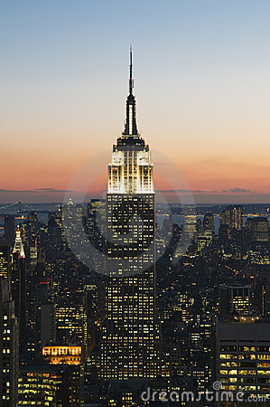 Empire State Building at sunset Editorial Photography