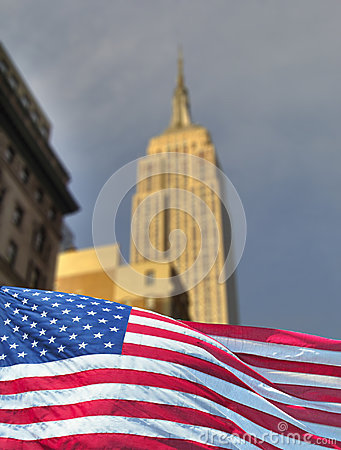 Empire state with flag Editorial Stock Photo