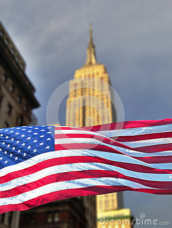Empire state with flag Editorial Image