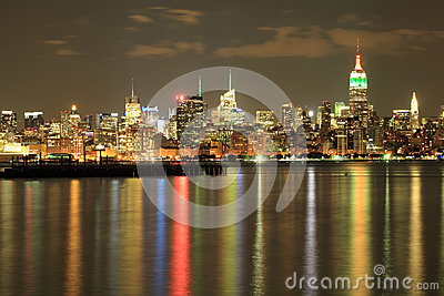 Empire State, NYC skyline at Night on Indian independence day.