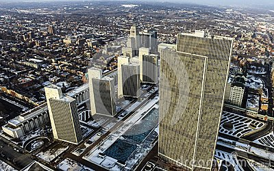 Empire State Plaza Aerial in Downtown Albany, NY Stock Photo