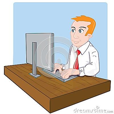 employ de bureau de dessin anim son bureau image libre de droits image 19326626. Black Bedroom Furniture Sets. Home Design Ideas