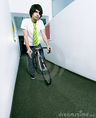 Employee on bike