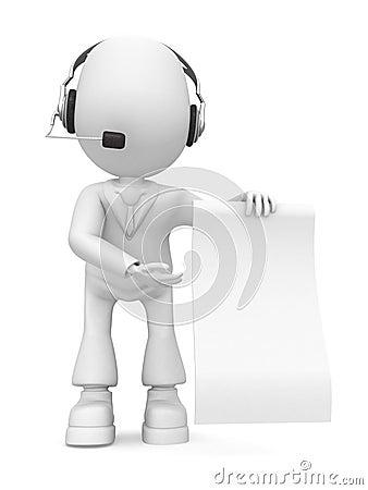 Employee in headphones show paper