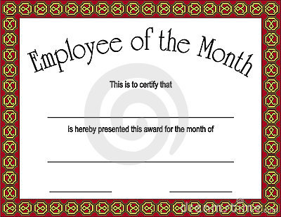 Employee of the month award with