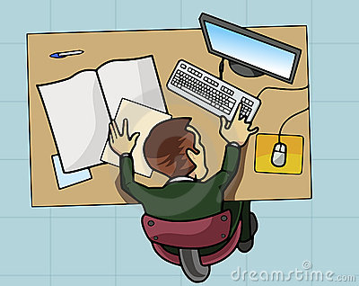 Employee working at his computer