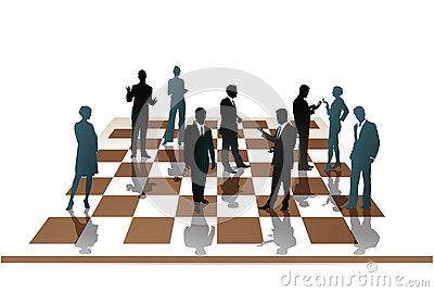 Business people on a chess board
