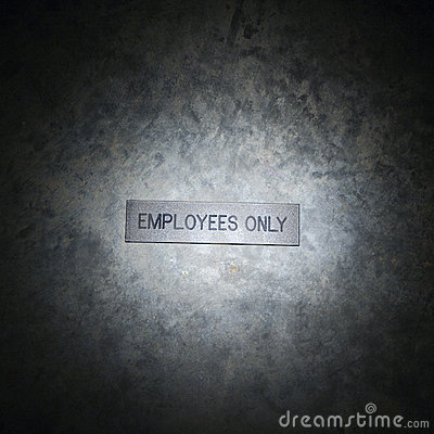 Employees only sign.