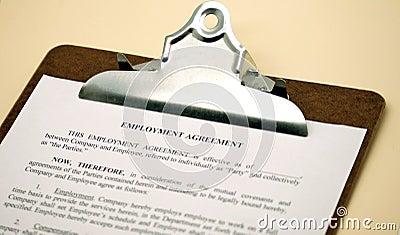 Employment Agreement on Clipboard