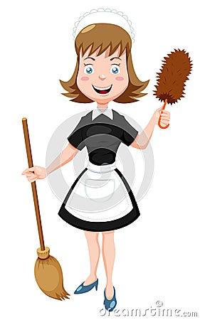 Empregada doméstica dos desenhos animados com vassoura