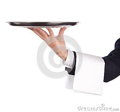 Empregado de mesa com bandeja