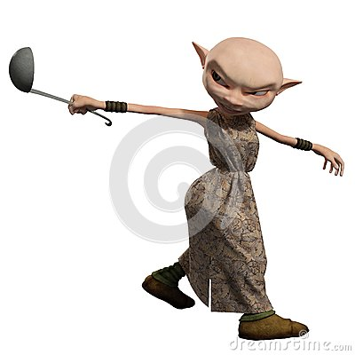 Empregado Girl do diabrete com concha