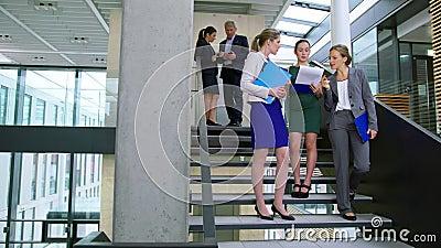 Empresarias que discuten en el documento mientras que se coloca en las escaleras almacen de metraje de vídeo