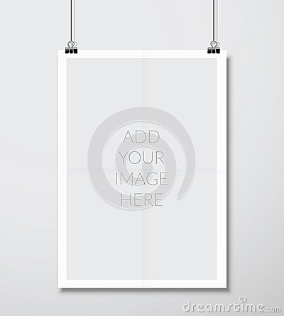 Free Empty A4 Sized Vector Paper Frame Mockup Hanging With Paper Clip Stock Photos - 47518033
