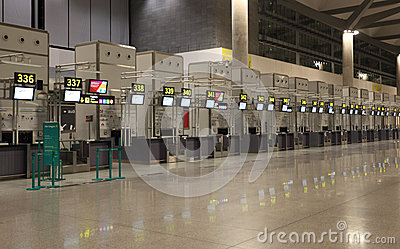 Empty airport check-in counters Editorial Photography