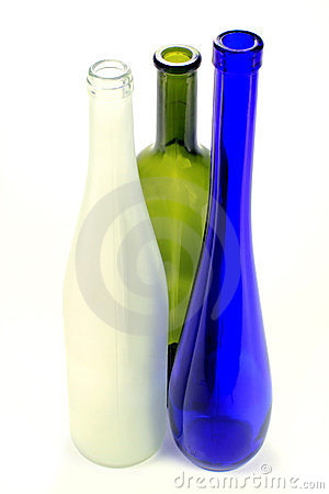 Empty alcoholic drinks glass bottles