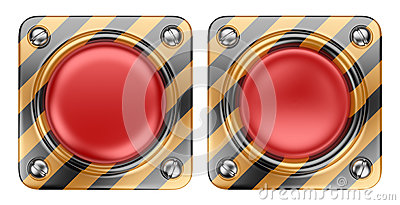 Empty alert red button. 3D Icon isolated
