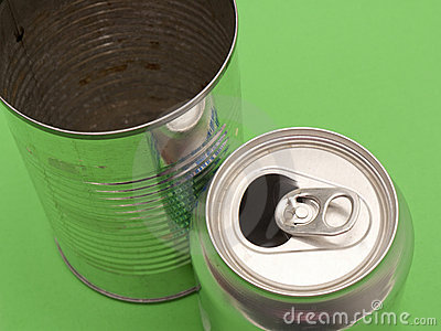 Empty aluminum and metal can