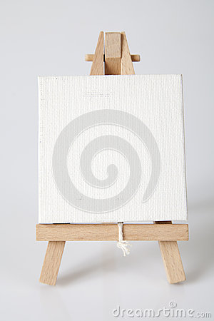 Empty artists canvas on an easel