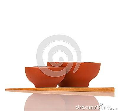 Free Empty Asian Ceramics Bowls And Wood Chopsticks Royalty Free Stock Photo - 12660985